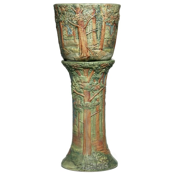 685: Weller Forest jardiniere and pedestal, scenic fore
