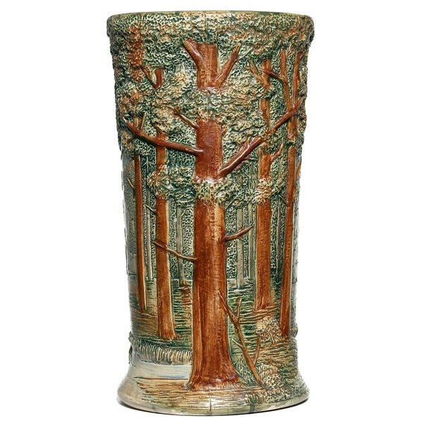 686: Weller Forest floor vase, cylindrical form
