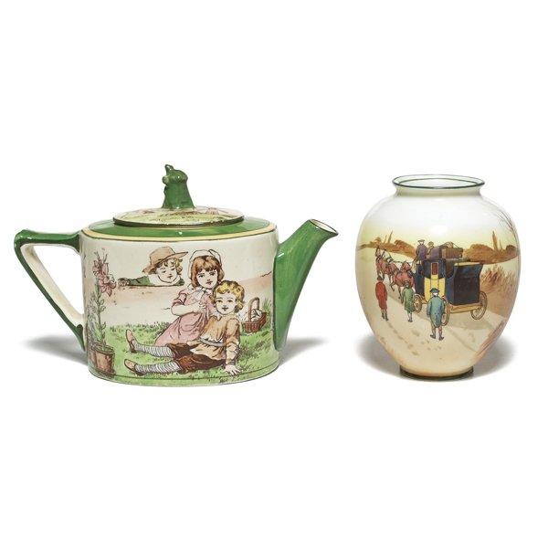 690: Royal Doulton teapot, w/ Royal Doulton vase
