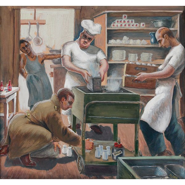 "1200: Arthur Flory, ""Kitchen Scene"", gouache"