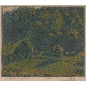 "Gustave Baumann Woodblock Print, ""Woodland Meadows,"""