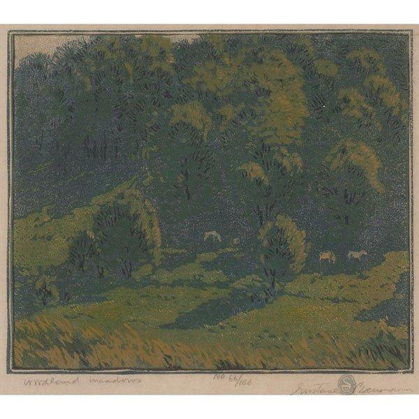 "1: Gustave Baumann woodblock print, ""Woodland Meadows,"""