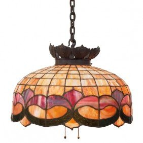 3: Arts and Crafts hanging fixture, leaded glass shade