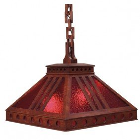 5: Arts and Crafts hanging fixture, cut-out pyramidal s