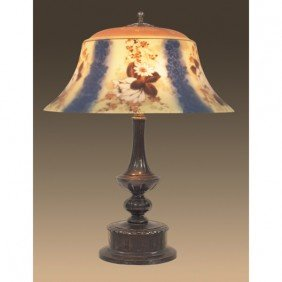 Pairpoint Lamp, Reverse-painted Acid-etched Shade Wi