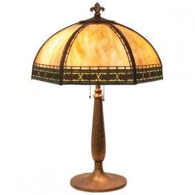 8: Handel table lamp, six sided shade with caramel slag