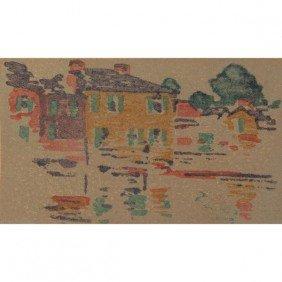 "9: Arthur Wesley Dow woodblock print, ""River Reflection"