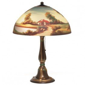 Jefferson Lamp, Reverse Painted Shade With A Landsc