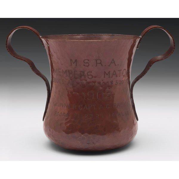 11: Arts and Crafts hammered copper vase,