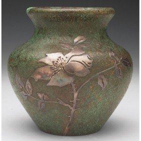13: Silver Crest vase, sterling decorated bronze, bulbo