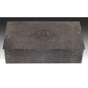 15: Silver Crest box, in sterling decorated bronze, sig