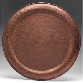 18: Arts and Crafts charger, large round form in hammer