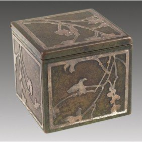 19: Heintz inkwell, sterling on bronze, leaf and berry