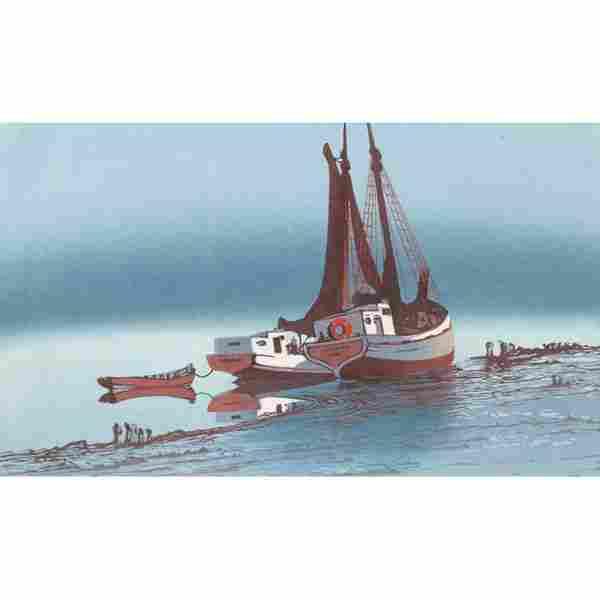 "37: Oscar Droege, ""Ebbe,"" c. 1930, color woodcut"