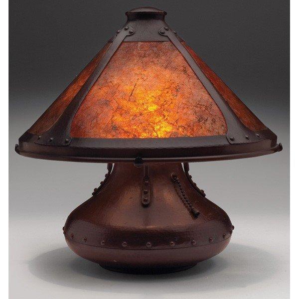 "183: Aurora Studios lamp, ""Indian Basket,"" hammered cop"