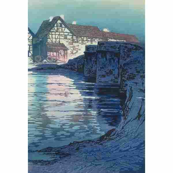 """219: Oscar Droege (German, 1898-1982) """"Romerbrucke,"""" c."""