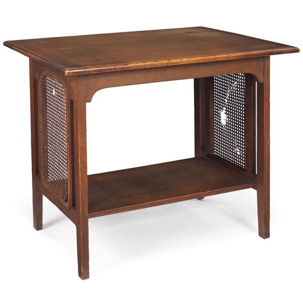 3: Arts & Crafts library table, rectangular top over a