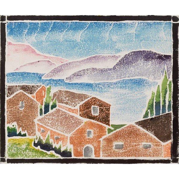 "4: Jay Douglas white line woodcut, ""Houses in Landscape"