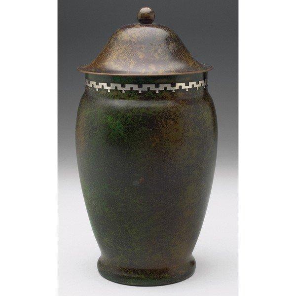 9: Unusual Heintz humidor, sterling on bronze