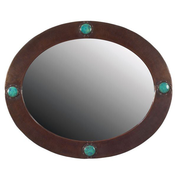 10: Liberty mirror, 1905, oval form in hammered copper