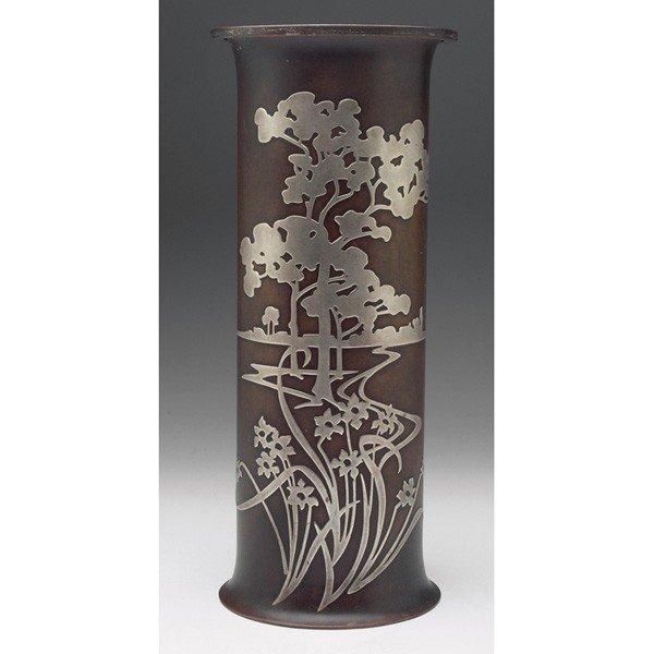 11: Heintz vase, sterling on bronze, large cylindrical