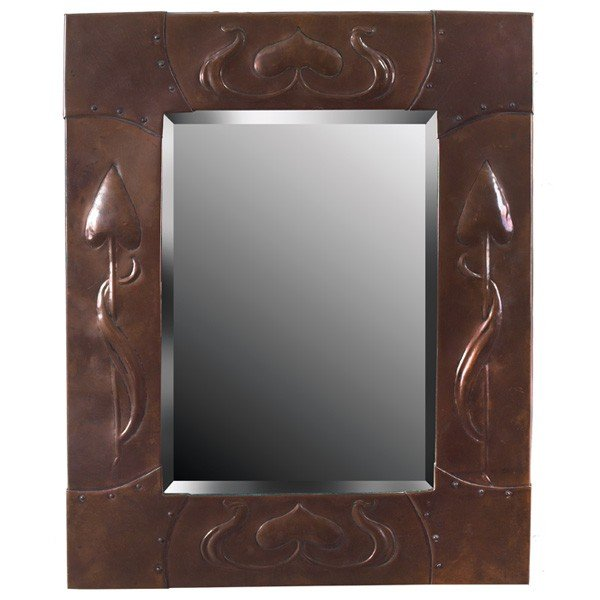 13: Good English Arts & Crafts mirror, in copper with r