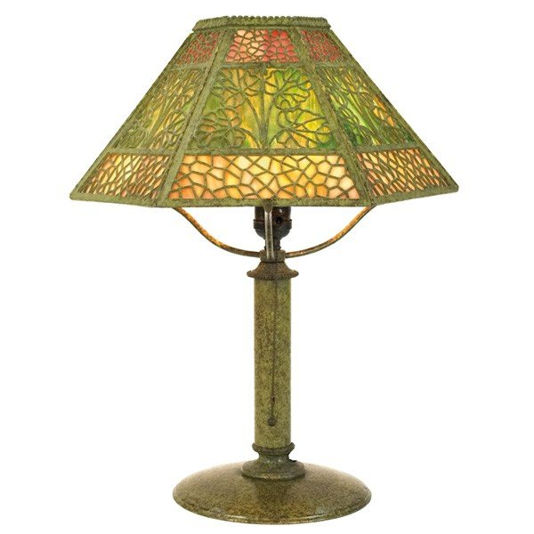 17: Bradley & Hubbard table lamp, six-sided shade