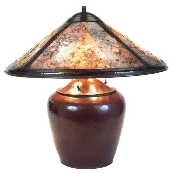 18: Dirk Van Erp table lamp, original mica shade