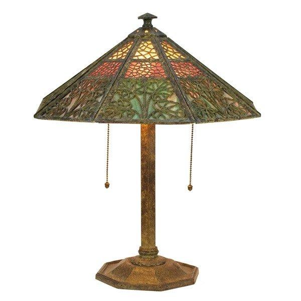 19: Bradley & Hubbard table lamp, eight-sided shade
