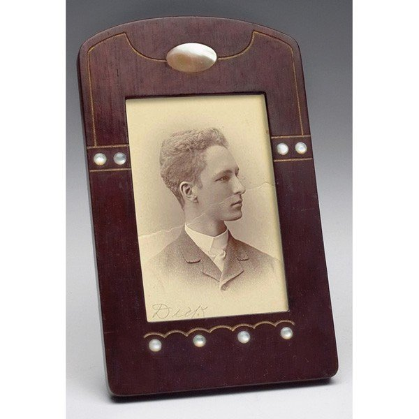 22: Arts & Crafts frame, wooden with inset mother of pe