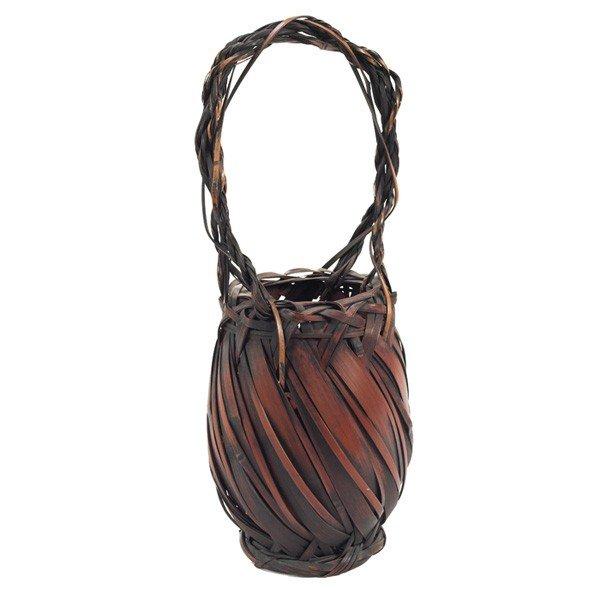 23: Ikebana Japanese basket, woven bamboo, with a singl