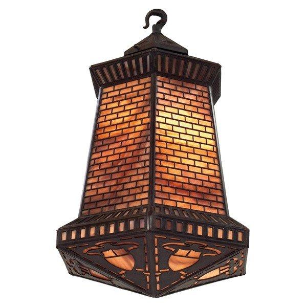 24: Handel hanging lantern, large six-sided slag glass
