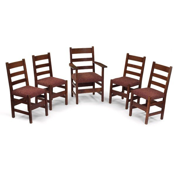 17: L and JG Stickley dining chairs, set of five, #1350