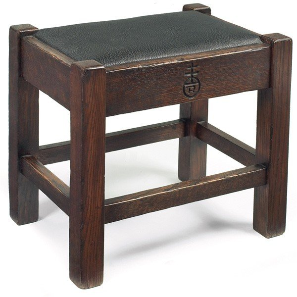 19: Roycroft footstool, recovered leather top
