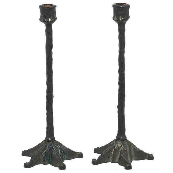 012: E.T. Hurley candlesticks, pair, sea horse design