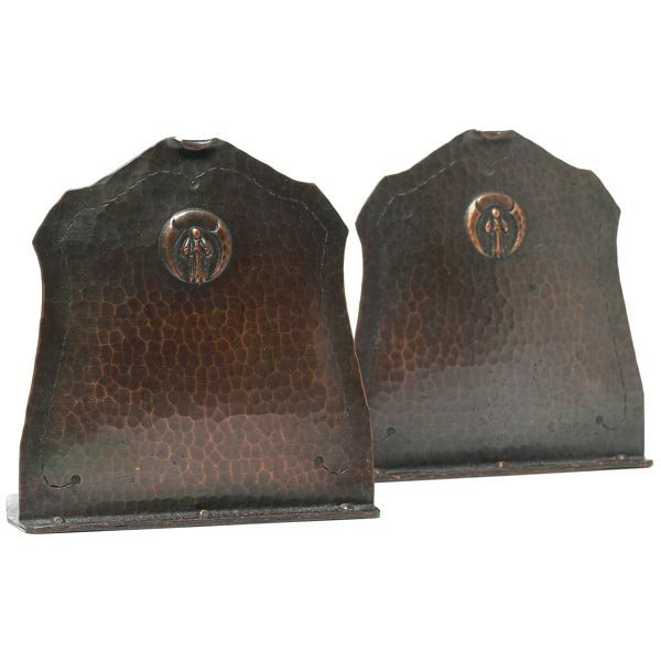 076: Old Mission Kopperkraft bookends, pair