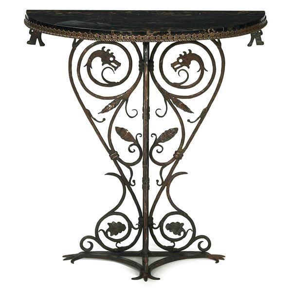 484: Oscar Bach table, curled ironwork