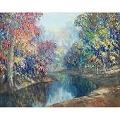 685: John Wesley Hardrick, landscape, oil