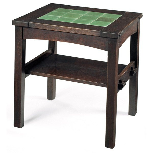 1: Gustav Stickley twelve tile tea table, rectangular t