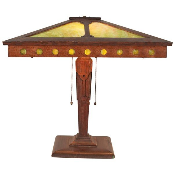 3: Prairie School table lamp, pyramidal slag-glass