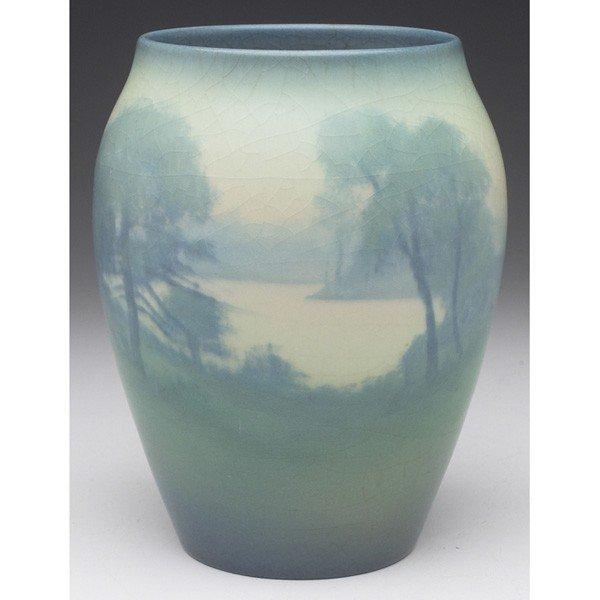 17: Rookwood vase, Vellum glaze, river landscape