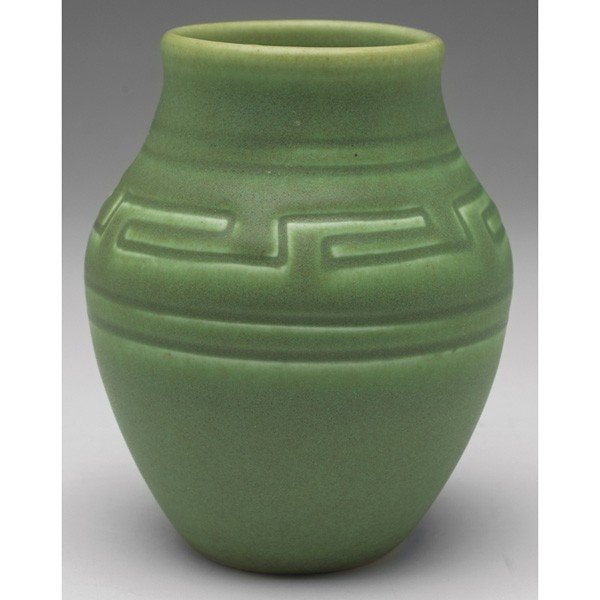 23: Rookwood vase, bulbous, green matte
