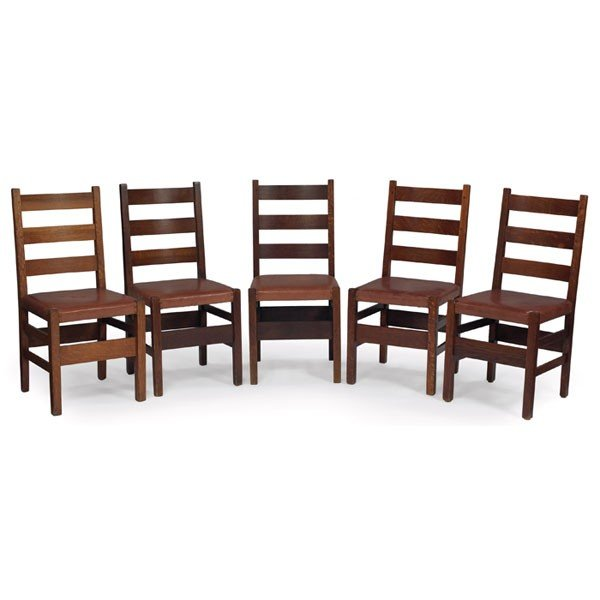 155: Gustav Stickley dining chairs, assembled set of fi