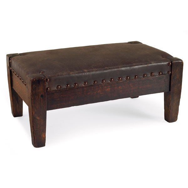 168: Arts & Crafts footstool, in the style of Roycroft