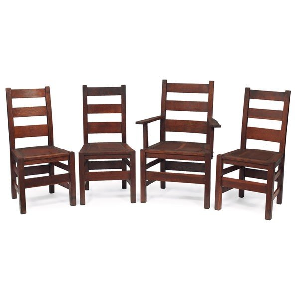 214: Stickley Brothers dining chairs, set of four, #381