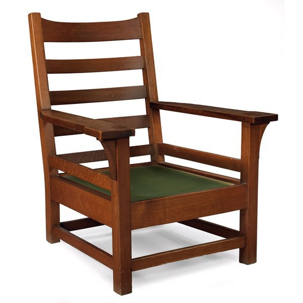 5: Gustav Stickley armchair, Model No. 2590