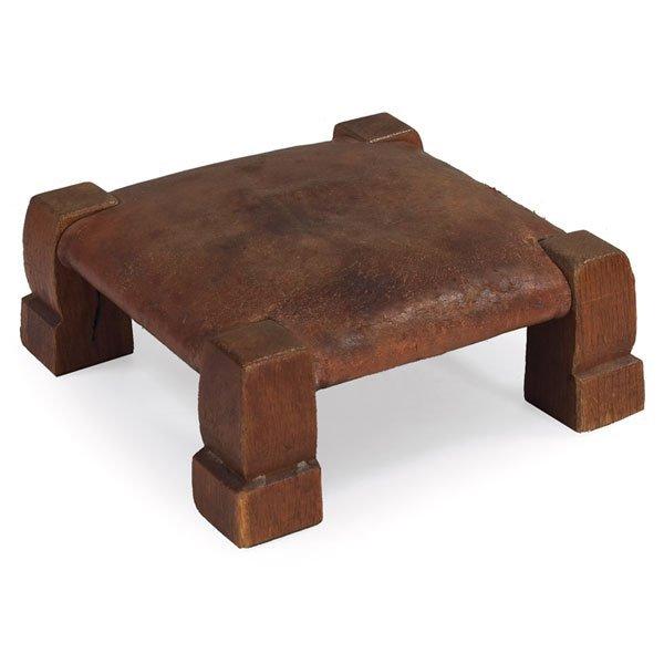 """8: Gustav Stickley """"monk"""" footstool, Model No. 302"""