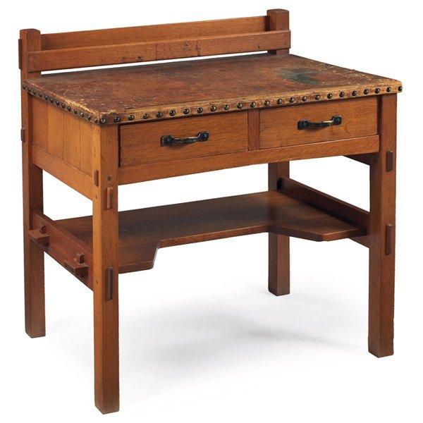 21: Gustav Stickley desk, uncataloged model