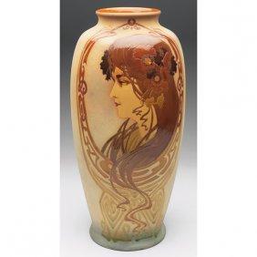 Rozane Woodland Vase, Style Of Alphonse Mucha
