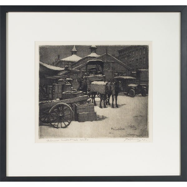 "127: E.T. Hurley etching,  ""Flower Market in Winter"""